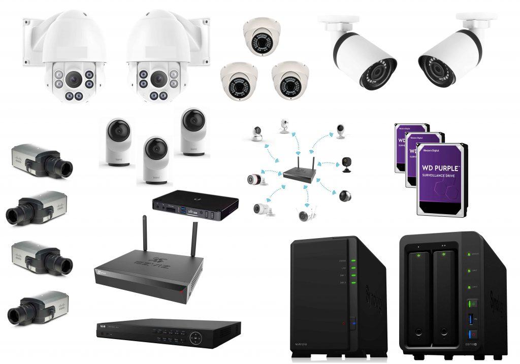 Una composizione di NVR, IPCamera, Dome Camera e HalfDome Camera