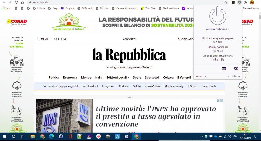 La Repubblica senza AD Blocker
